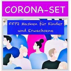 Corona Set FFP2 Masken für Kinder und Erwachsene
